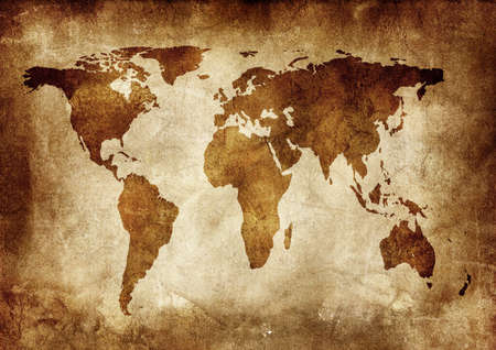 Background made with old textured paper with a world map    photo