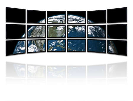 Big panel of TV�s showing a presentation with the earth planet Background made with old textured paper with a world map  - Earth planet image courtesy of Nasa (http:earthobservatory.nasa.gov)  photo