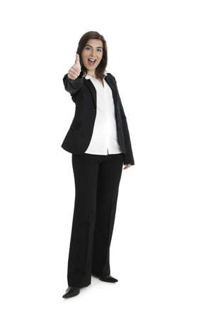 Full body portrait of happy beautiful business woman isolated on white Stock Photo - 2510633