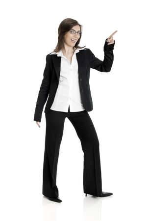Full body portrait of happy beautiful business woman isolated on white Pointing to somewhere Stock Photo - 2510646