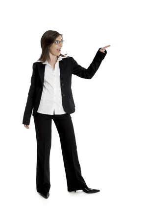 Full body portrait of happy beautiful business woman isolated on white Stock Photo - 2510640