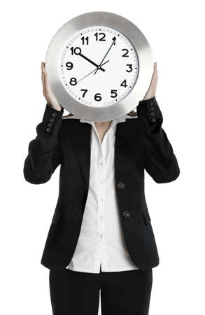 corporate waste: Business holding a clock isolated on white  Stock Photo