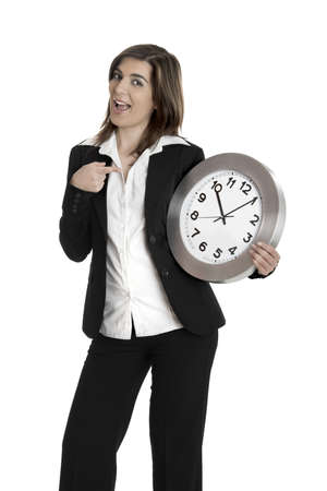 corporate waste: Happy business holding a clock isolated on white  Stock Photo