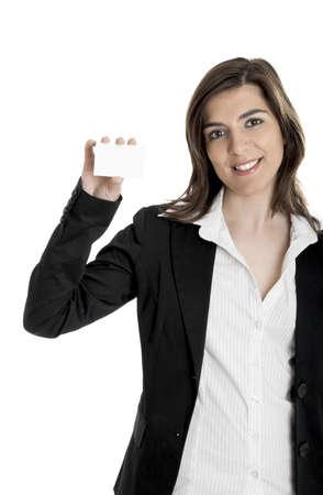 Portrait of a happy beautiful woman holding a billboard Stock Photo - 2510698
