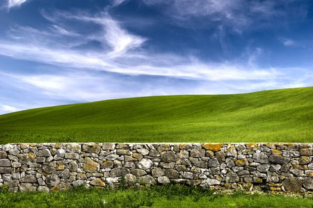 Beautiful green meadow with a old Stone wall  Stock Photo - 3072417