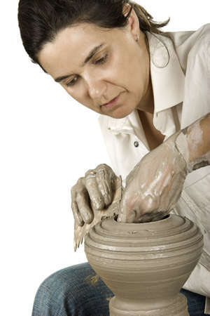 Picture of a potter works a potter's wheel Stock Photo - 3543873