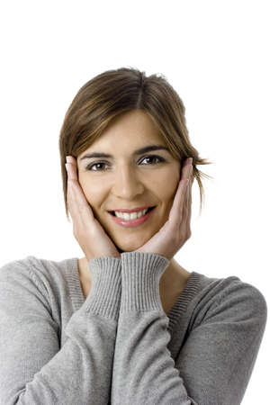 Beautiful woman smiling - Close up portrait of a beautiful female model with hands on the face Stock Photo - 4091316