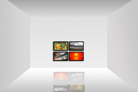 Empty room with a tv panel showing the four seasons Stock Photo - 4500966