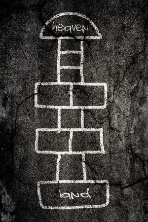 Hopscotch game designed on the road with chalk Stock Photo - 4885966
