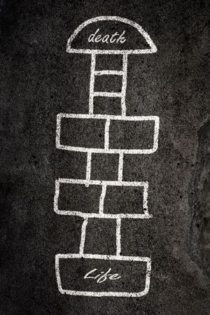 Hopscotch game designed on the road with chalk Stock Photo - 4885981