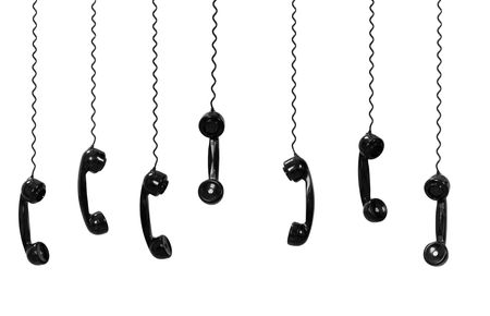 Multi old-fashioned telephones isolated on white Stock Photo - 4885983