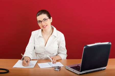 Portrait of a young business woman sitting in office doing some paperwork Stock Photo - 4917860