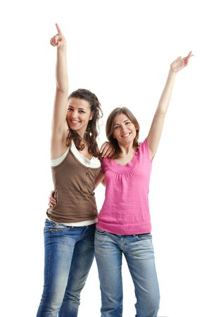 Two beautiful and happy young women isolated over white background Stock Photo - 5067492
