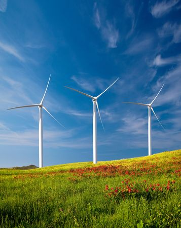 wind farm: Beautiful green meadow with Wind turbines generating electricity