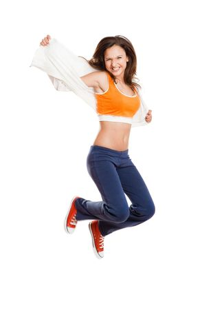 Portrait of a beautiful and athletic teenage girl jumping isolated on white Stock Photo - 6700834