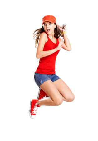human sexual activity: Beautiful teenage girl jumping of happiness isolated on white  Stock Photo