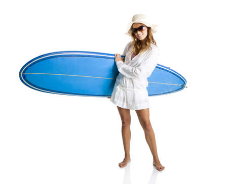 Beautiful young woman posing with a surfboard, isolated on white