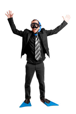 Funny concept of a businessman with a scuba mask isolated on white Stock Photo - 7064324