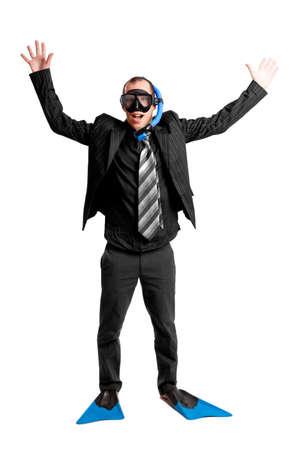 Notion drôle d'un homme d'affaires avec un masque de plongée isolé sur blanc