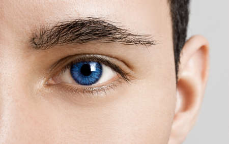 close up eye: Close-up portrait of a young man with blue eyes - OBS: model use lens contact