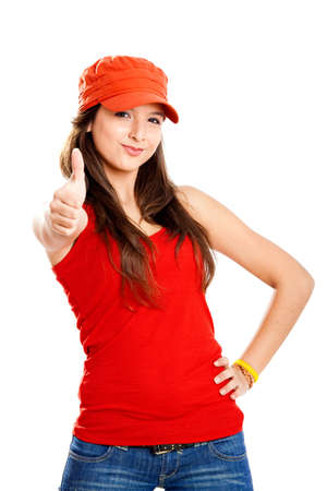 human thumb: Beautiful and happy young girl with thumbs up, isolated on white