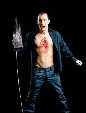 Crazy man with a hot burn on the chest Stock Photo - 7150288
