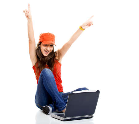 computer model: Beautiful young female student with a laptop, isolated on white