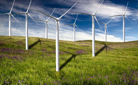 Clean energy being generated by a windmills park Stock Photo - 7750938