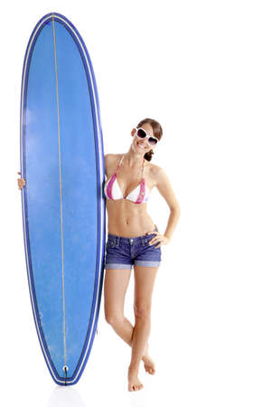 Beautiful young woman posing with a surfboard, isolated on white Stock Photo - 7954984