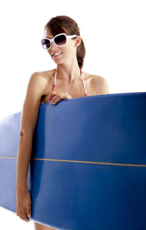 Beautiful young woman posing with a surfboard, isolated on white Stock Photo - 7954986