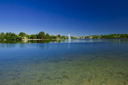 Landscape picture of a beautiful artificial laggon - Quinta do Lago, Faro, Portugal Stock Photo - 7979432