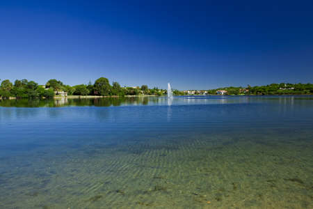 quinta: Landscape picture of a beautiful artificial laggon - Quinta do Lago, Faro, Portugal  Stock Photo