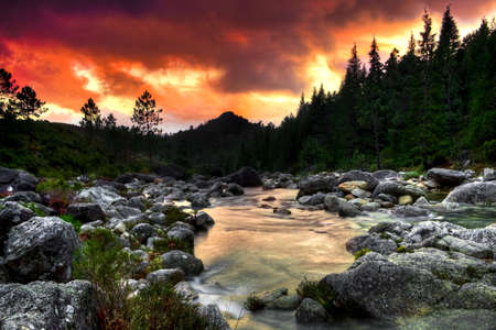 Beautiful view of a mountain river at sunset Stock Photo - 8086336