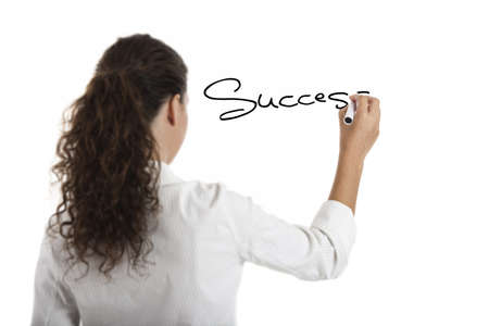sucess: Young businesswoman drawing the word sucess, isolated on white background Stock Photo