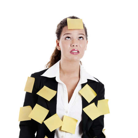 Businesswoman with yellow pos-its, isolated on white Stock Photo