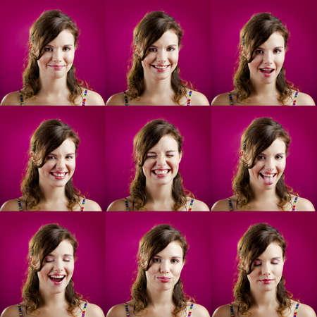 mujeres pensando: Collage de la misma mujer haciendo diferentes expresiones