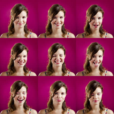 Collage of the same woman making diferent expressions photo