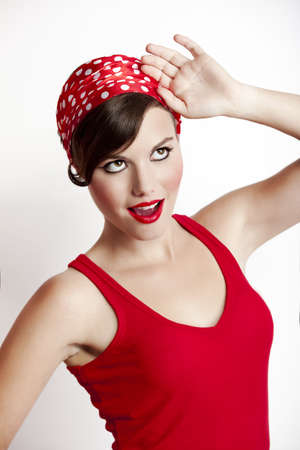Beautiful and fashion young woman with a pin-up look Stock Photo - 8104018
