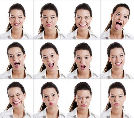 lengua afuera: Collage de la misma mujer haciendo diferentes expresiones