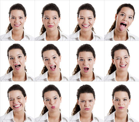 pull out: Collage of the same woman making diferent expressions