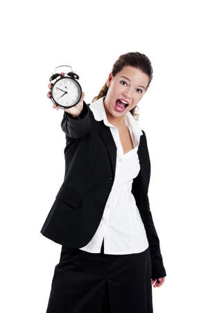 Portrait of Young and beautiful businesswoman holding a clock photo