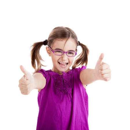 Portrait of a beautiful and confident girl showing thumbs up isolated one white Stock Photo - 8211353
