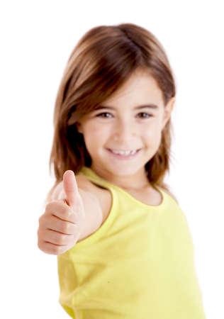 mujer hijos: Retrato de una chica hermosa y conf�a en Mostrar pulgares aislado una blanca Foto de archivo