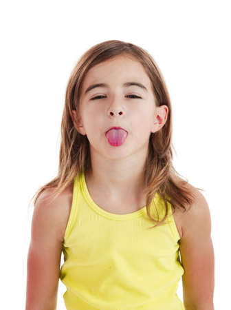girl tongue: Portrait of a beautiful girl with her tongue out, isolated one white