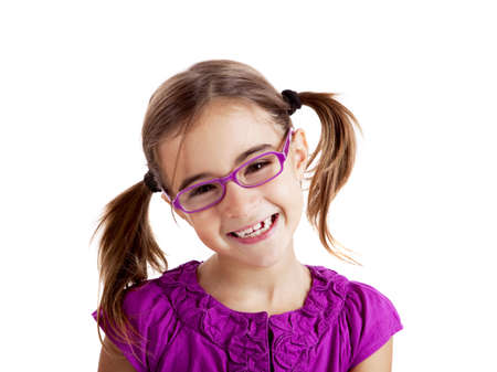 young youth: Beautiful girl wearing glasses isolated on white
