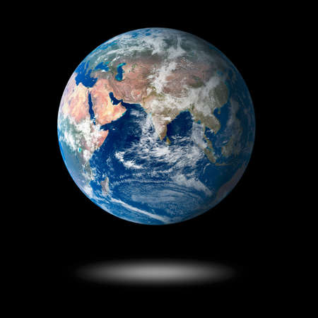 fluctuate: Our own earth over a black background. Maps comes from earthobservatorynasa.  Stock Photo