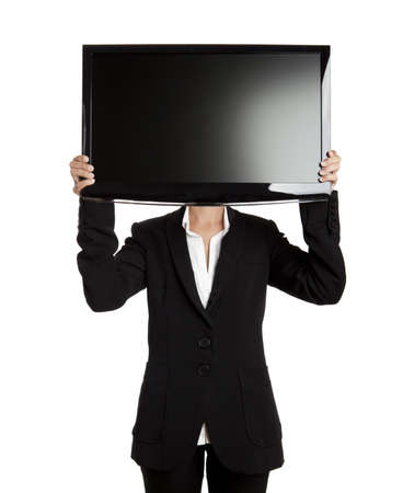 big screen tv: Woman holding a big TV screen over her head