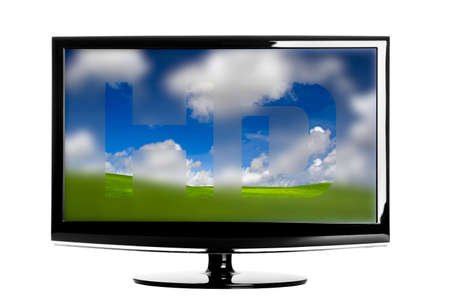 Modern HD TV showing a beautiful green landscaoe photo