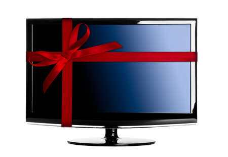 Modern Led tv with a red Christmas ribbon photo