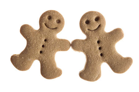 Homemade Gingerbread man cookie isolated on white background photo